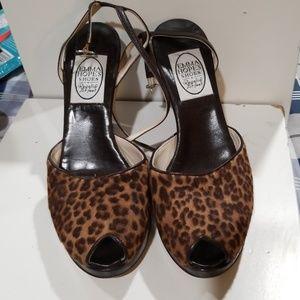 Emma Hope's open toe leopard print sandal